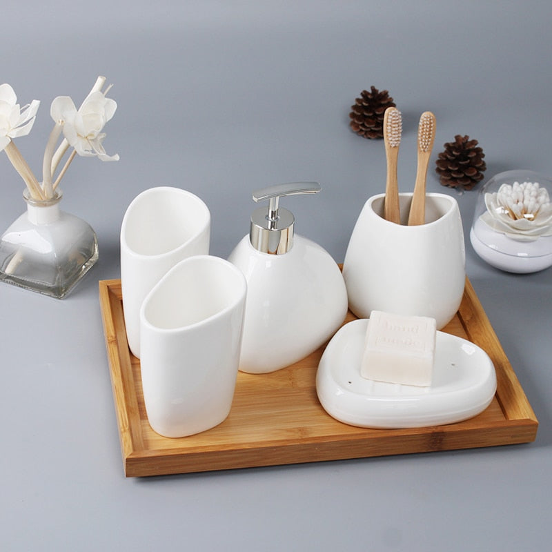 White Ceramic Bathroom Set 5 pieces - OYRISS