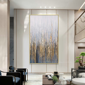 Large Vertical Abstract Golden Canvas Painting