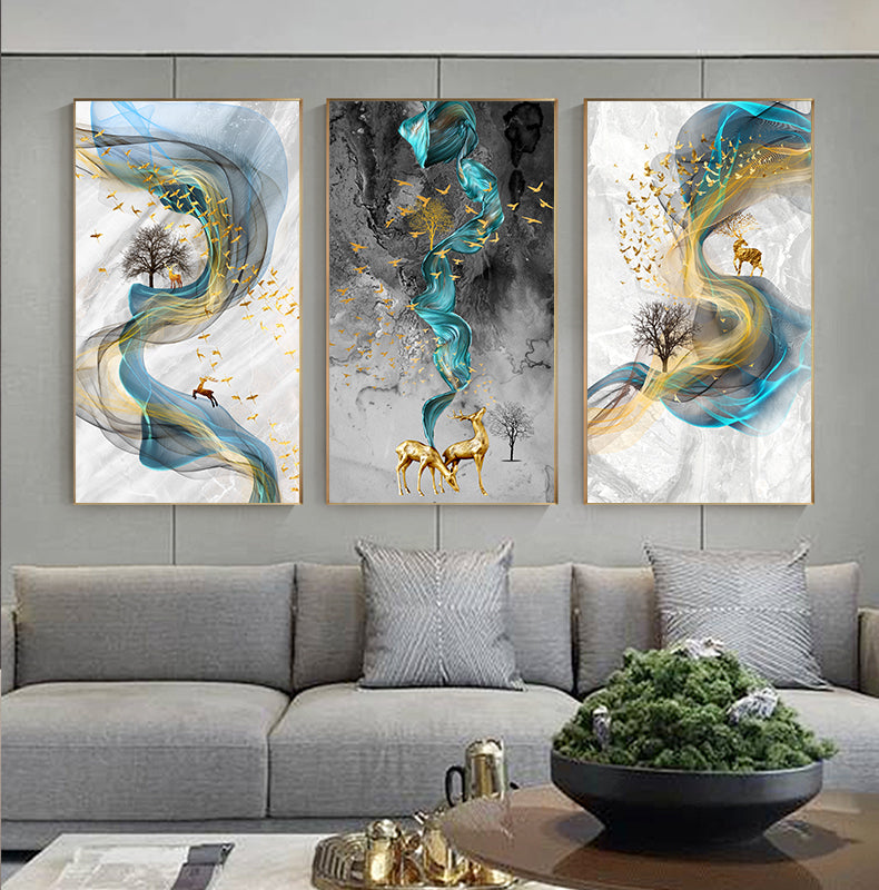 Blue Gold Canvas Painting - OYRISS