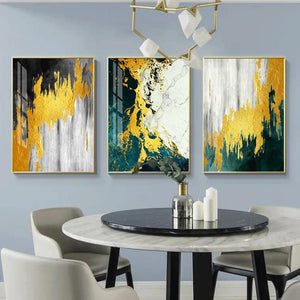Abstract Golden Green Canvas Painting - OYRISS
