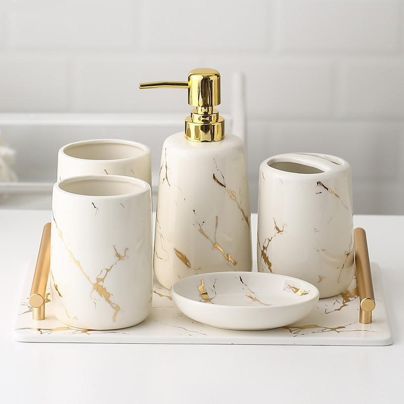 White Marble Ceramic Bathroom Set