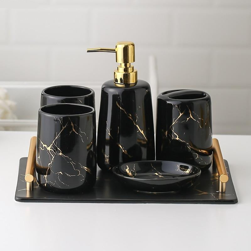 Black Marble Ceramic Bathroom Set