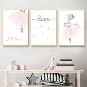 Pink Ballet Girl Canvas Painting
