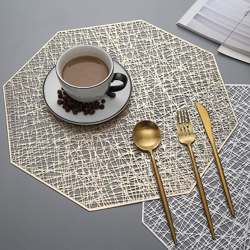 Octagonal Hollow Non Slip Placemat Set