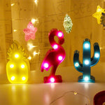 Pineapple Flamingo Cactus LED Night Light Decor