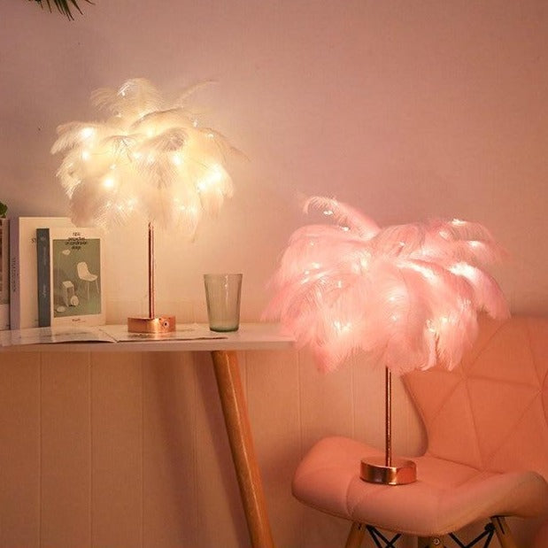 Decorative Pink Feather Table Lamp