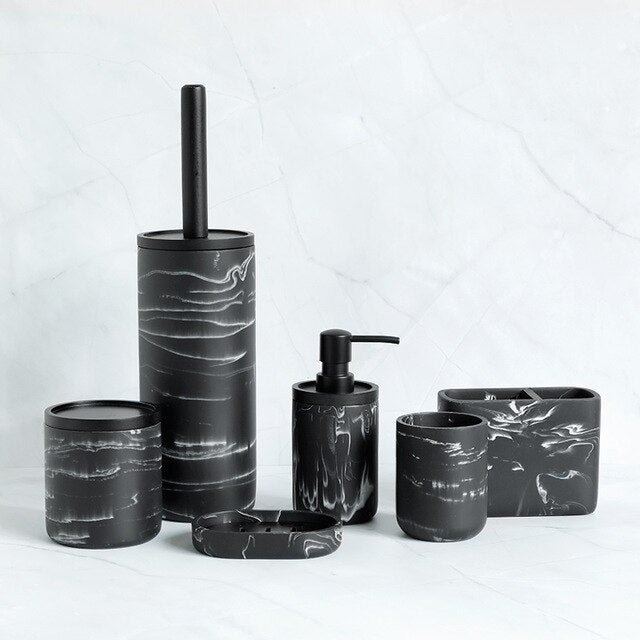 Black Marble Resin Bathroom Set