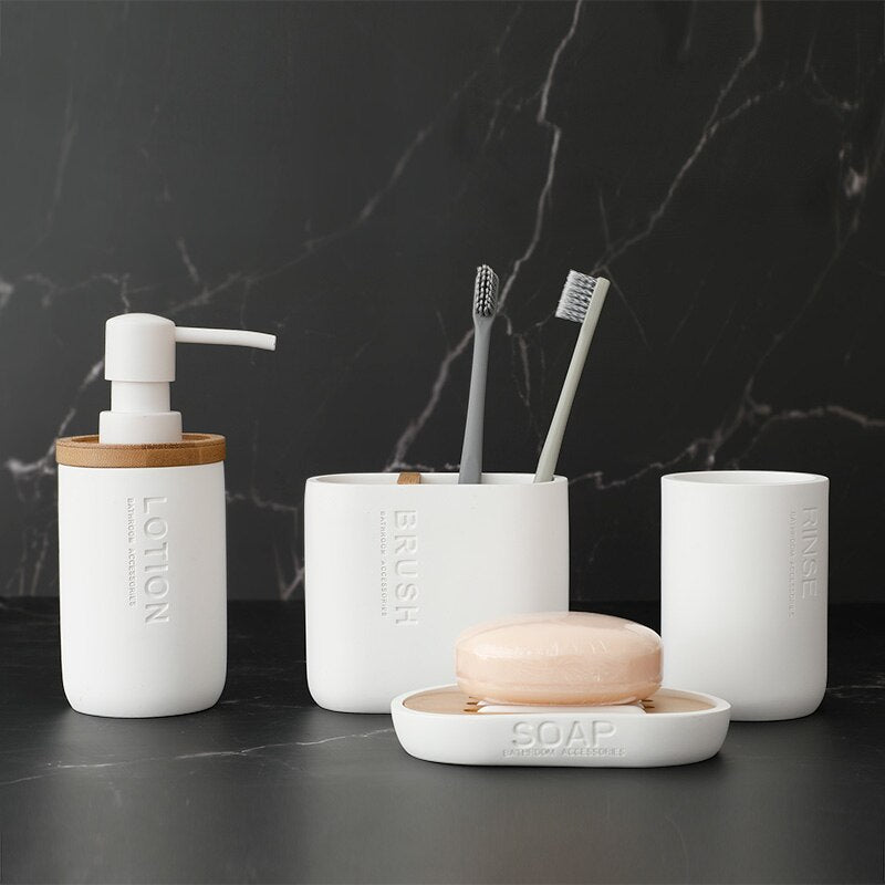 White Modern Nordic Bathroom Set 4 Pieces