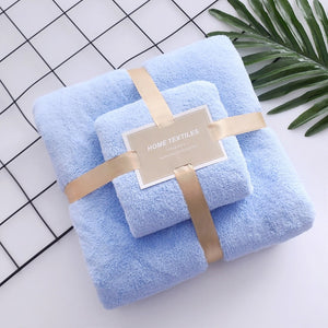 Soft Coral Fleece Absorbent Towel Set 2 Pcs