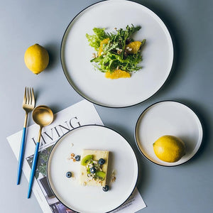 Gray Porcelain Ceramic Plate Set - OYRISS