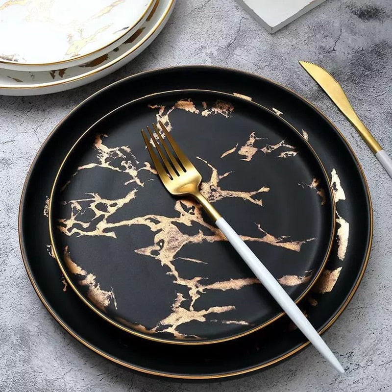 Gold Inlay Marble Plate Set - OYRISS