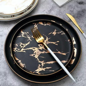 Gold Inlay Marble Plate Set
