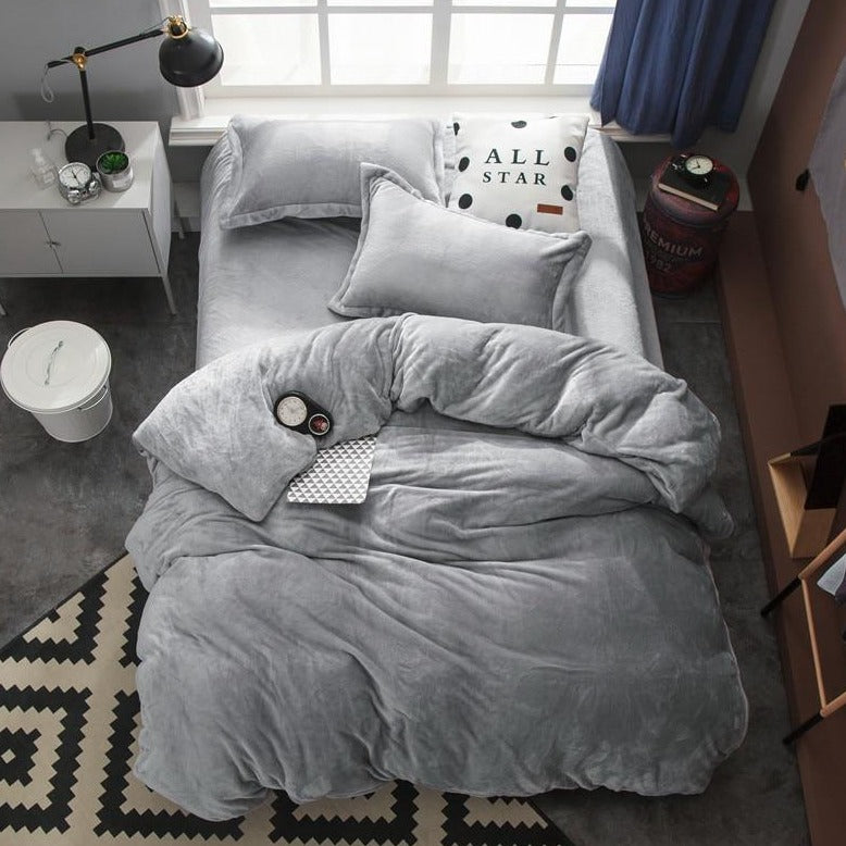 Gray Fleece Soft Bedding Set