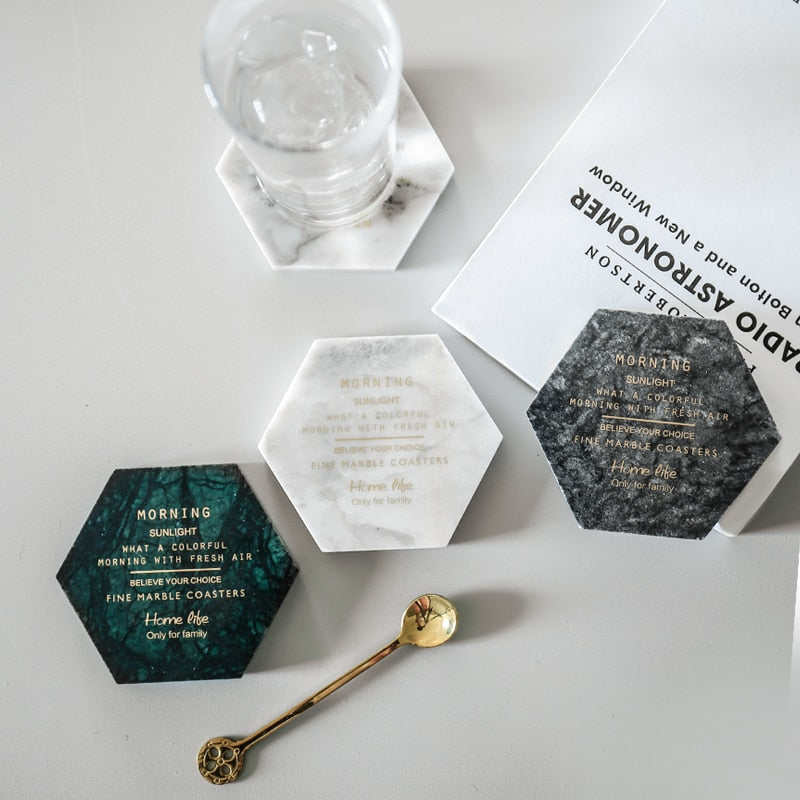 Marble Golden Text Hexagon Coaster - OYRISS