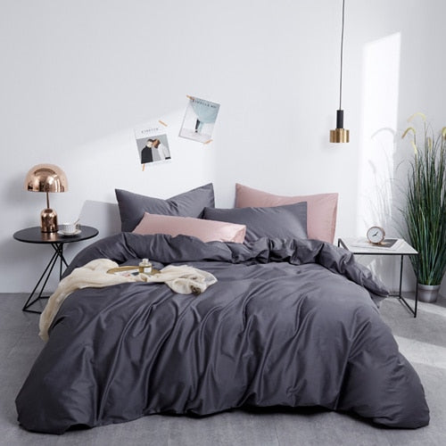Dark Gray Silky Cotton Bedding Set - OYRISS