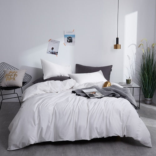 White Silky Cotton Bedding Set - OYRISS