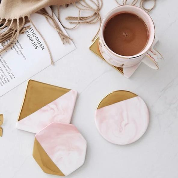 Pink Marble Gold Coaster - OYRISS