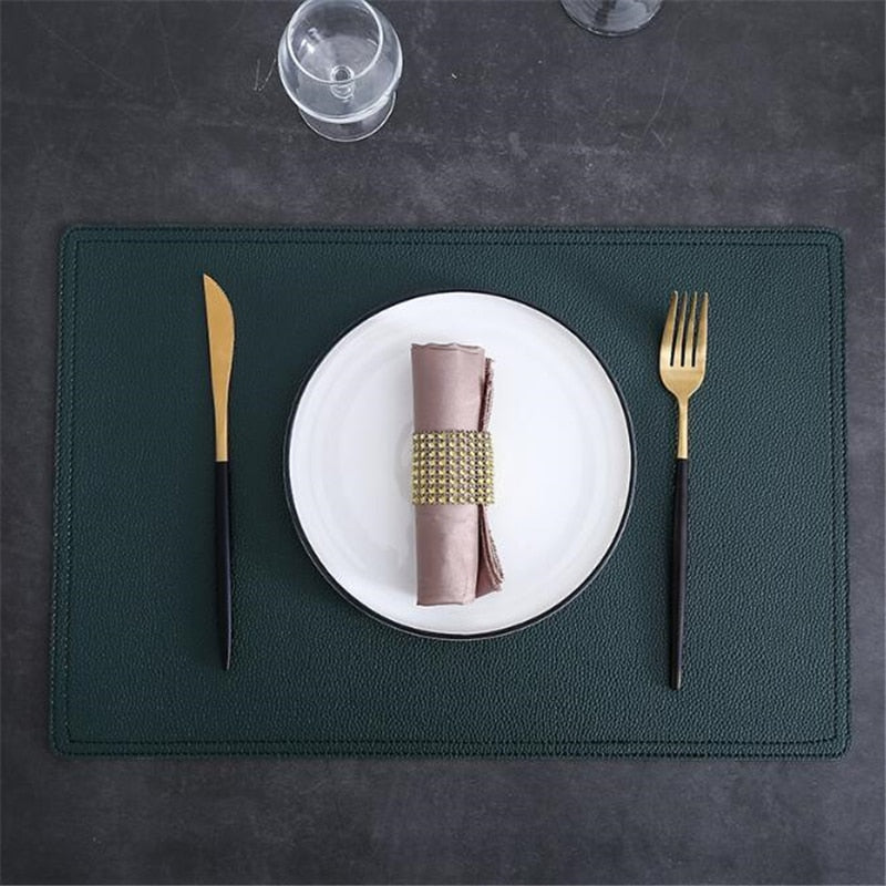 Green Faux Leather Placemat - OYRISS