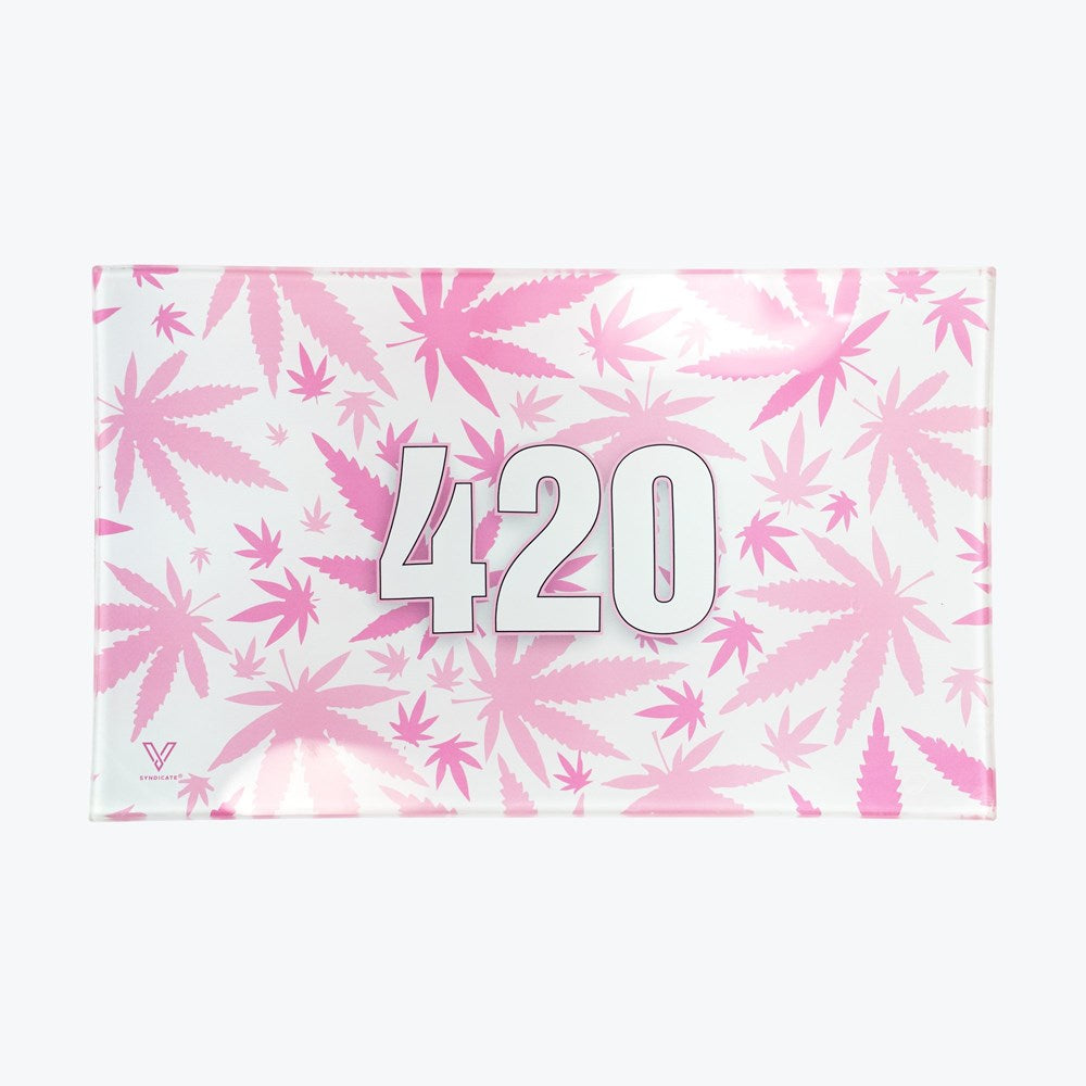 420 PINK GLASS TRAY (MED)
