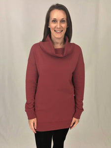 Sweatshirt Tunic With Cowl Neck