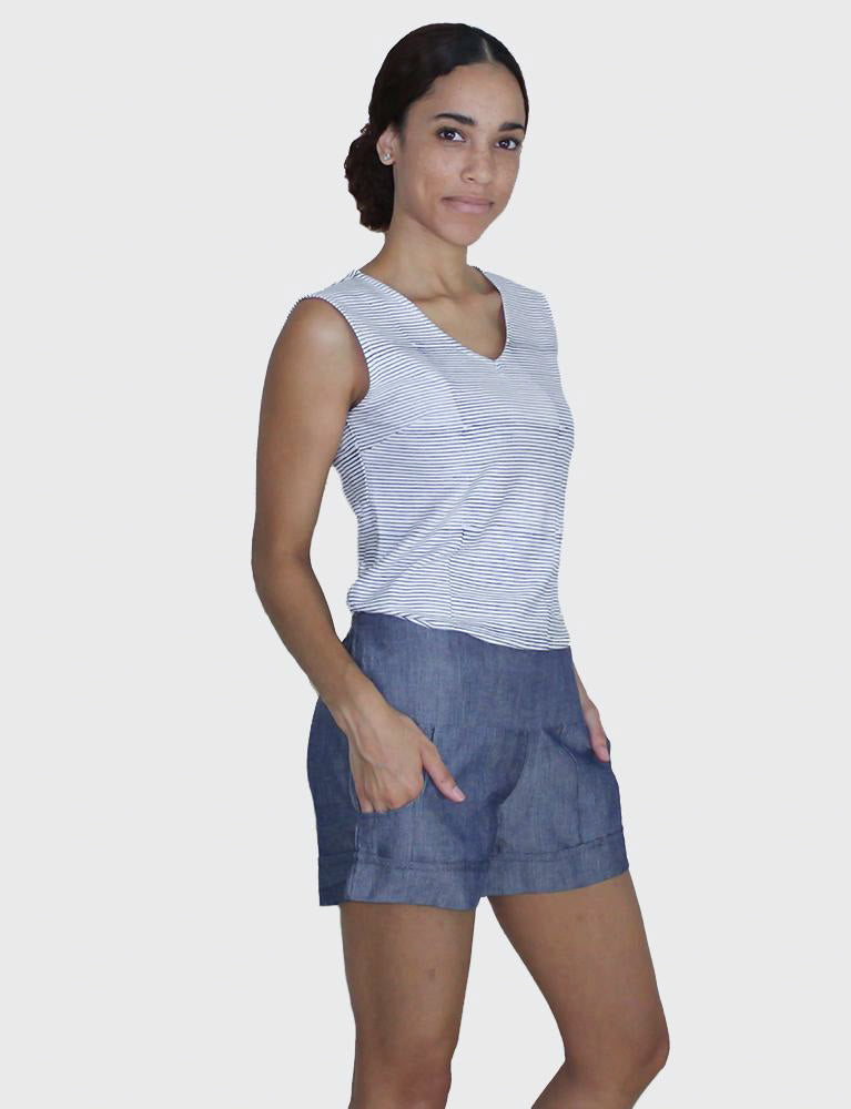 Chambray Pocket Shorts