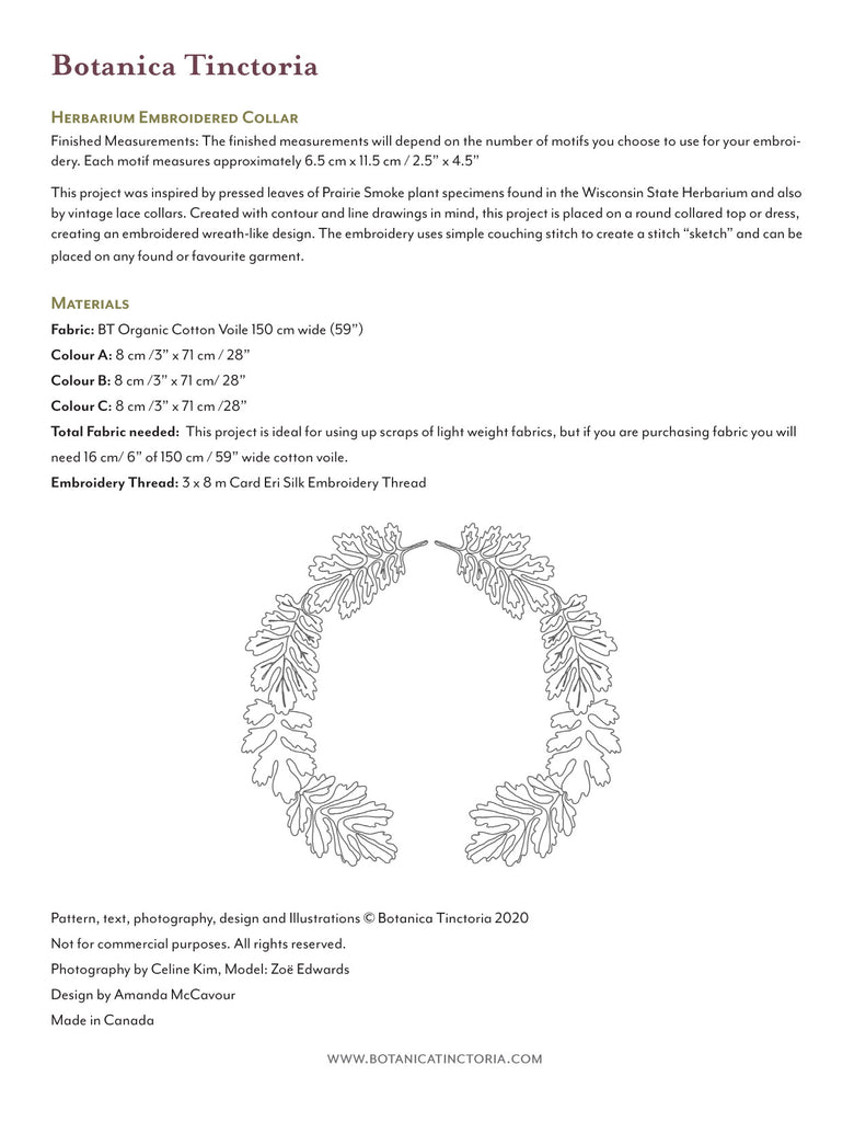 Herbarium Embroidered Collar Embroidery Pattern