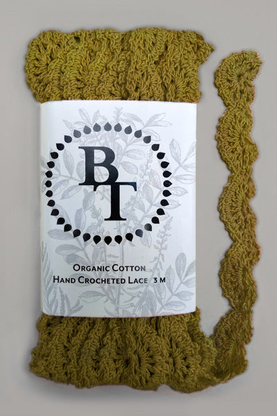 Hand Crocheted Organic Cotton Lace #30: 2 cm wide