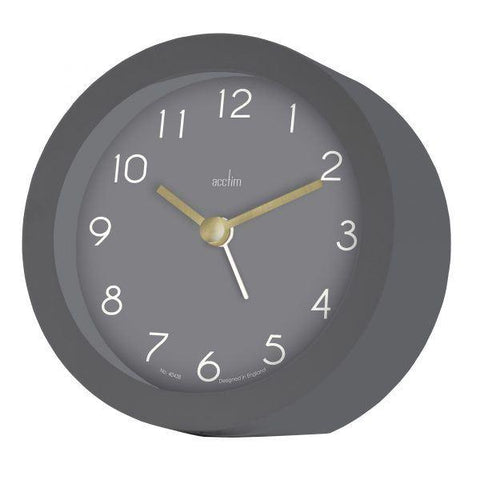Acctim - Grey Mila Alarm Clock 15917 Analogue Alarm Clock | Snape & Sons