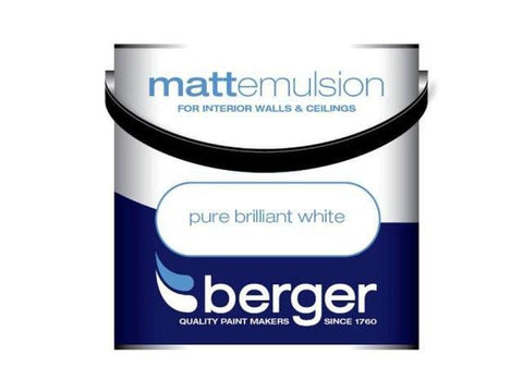 Berger Paints - Matt White Emulsion 1l Emulsion Paints | Snape & Sons