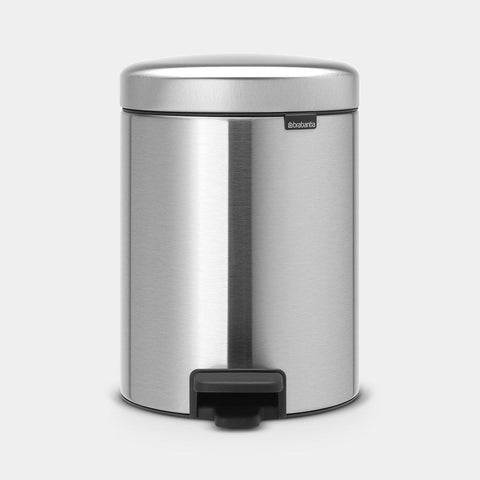 Brabantia - 5l NewIcon Pedal Bin Fingerprint Proof Matt Steel Pedal Bins | Snape & Sons