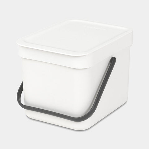 Brabantia - Sort & Go Waste Bin 6l White Compost Caddy Bins | Snape & Sons