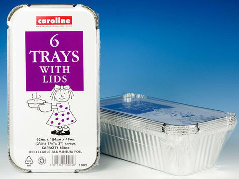 Caroline - Foil Tray & Lid 23oz x6 Foil Dishes | Snape & Sons