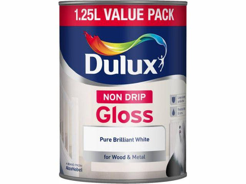Dulux - Non Drip Gloss White 1.25L Interior Wood & Metal Paints | Snape & Sons