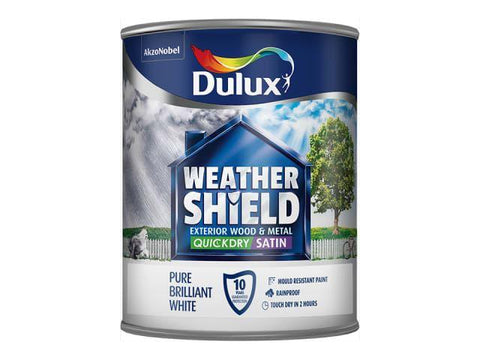 Dulux - Weathershield Satin White 750ml Exterior Wood & Metal Paints | Snape & Sons