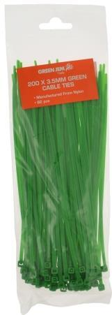 Green Jem - Green 200mm Cable Ties x82 Cable Ties | Snape & Sons