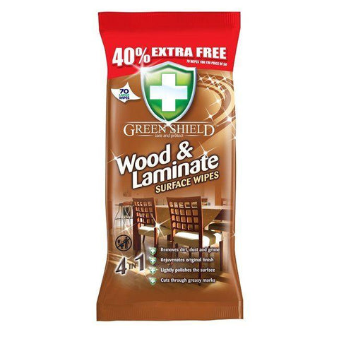 GreenShield - Wood & Laminate Surface Wipes 40% Extra FREE Wet Wipes | Snape & Sons