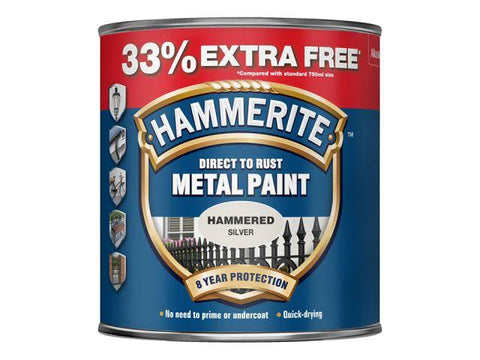 Hammerite Paints - Direct To Rust Metal Paint Hammered Silver 750ml Metal Paints | Snape & Sons