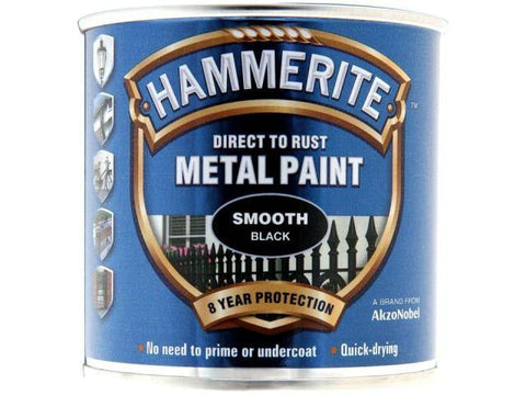 Hammerite Paints - Direct To Rust Metal Paint Smooth Black 250ml Metal Paints | Snape & Sons
