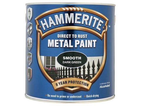 Hammerite Paints - Direct To Rust Metal Paint Smooth Dark Green 250ml Metal Paints | Snape & Sons