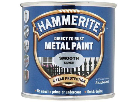 Hammerite Paints - Direct To Rust Metal Paint Smooth Silver 250ml Metal Paints | Snape & Sons