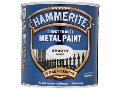 Hammerite Paints - Direct To Rust Metal Paint Smooth White 750ml Metal Paints | Snape & Sons