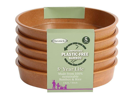 Haxnicks - 5in Bamboo Saucers Terracotta x5 Flower Pot Saucers | Snape & Sons