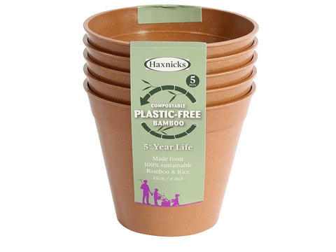 Haxnicks - 6in Bamboo Pots Terracotta x5 Flower Pots | Snape & Sons