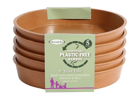 Haxnicks - 6in Bamboo Saucers Terracotta x5 Flower Pot Saucers | Snape & Sons