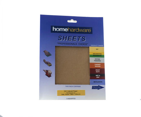 Home Hardware - Cabinet Paper Assorted x5 Sanding Sheets | Snape & Sons