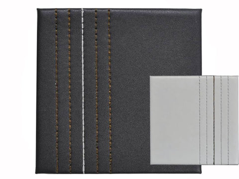 Home Hardware - Faux Leather Chocolate + Cream Stitch Coasters x4 Placemats | Snape & Sons