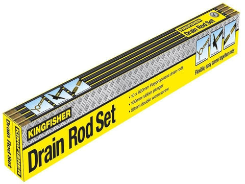 Kingfisher - 12 Piece Drain Rod Set Drain Unblockers | Snape & Sons