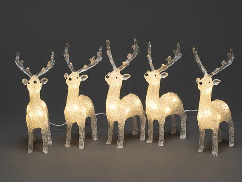 Kontsmide - Acrylic Reindeer Set 5 Piece Outdoor Christmas Decorations | Snape & Sons