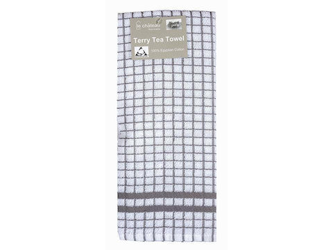 Le Chateau - Grey Check Terry Tea Towel Tea Towels | Snape & Sons