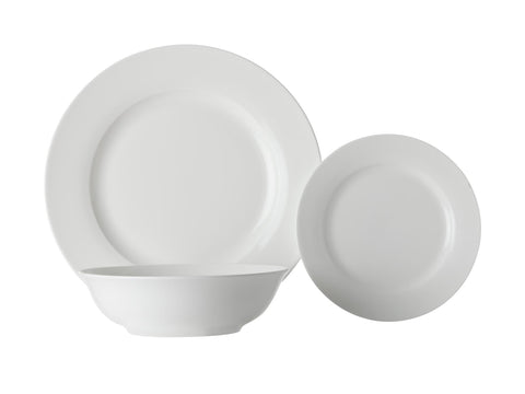 Maxwell Williams - White Basics Rimmed 12 Piece Dinner Set Crockery | Snape & Sons